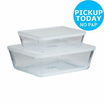 Pyrex Set of 2 Classic Glass Easy Clean Oven/Dishwasher Safe Roasters.