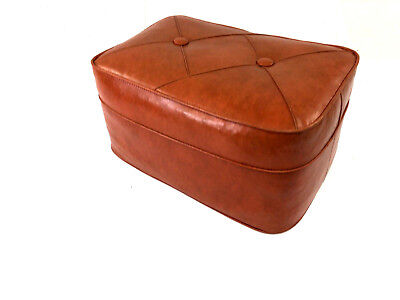 Vintage HASSOCK STOOL floor ottoman foot danish rest mid century modern orange