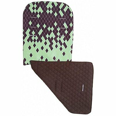 Maclaren Reversible Seat Liner Dripping Diamonds Marsh Green Coffee Brown