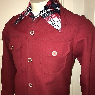 Vtg 60s 70s Red LEISURE SUIT Jacket Mens SMALL Disco Sport Coat Blazer S