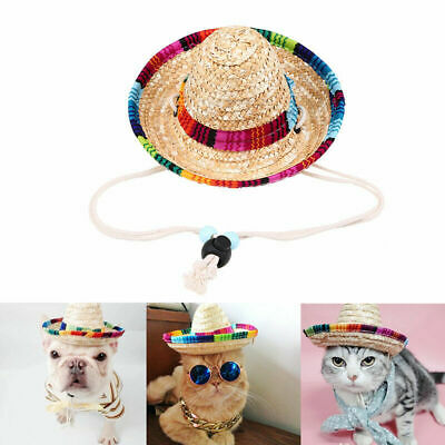 Fashion Pet Cat Puppy Dog Straw Hat Mexican Sombrero Small Animals Ornament Gift
