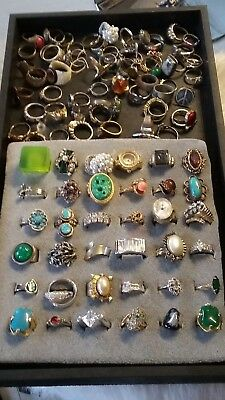 Costume Jewelry ALL RINGS & MORE RINGS RETRO All Vintage HUGE LOT ABOUT 100