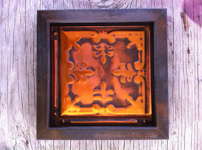 "Tin Ceiling Art Distressed Vintage Bronze With Wood Frame 6""X6"" USA Made #700"