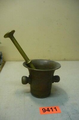 9411. Alter Bronzemörser Bronze Mörser Stößel  Old Apothecary Mortar and Pestle