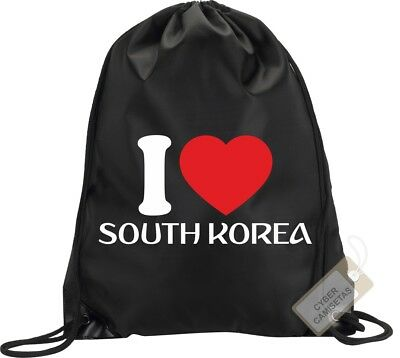 I Love Corea Del Sur Mochila Bolsa Gimnasio Saco Backpack Bag Gym South Korea