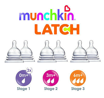 Munchkin Latch Baby Newborn Bottle Teat Vent Fast Slow Flow Stages 1 2 3