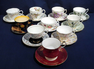 10 English Fine Bone China Tea Cup and + Saucer Sets Royal Stafford Queen's etc.