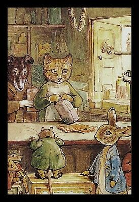 1-073-JPM Beatrix Potter The Tale Of Ginger And Pickles CAT DOG Postcard NEW