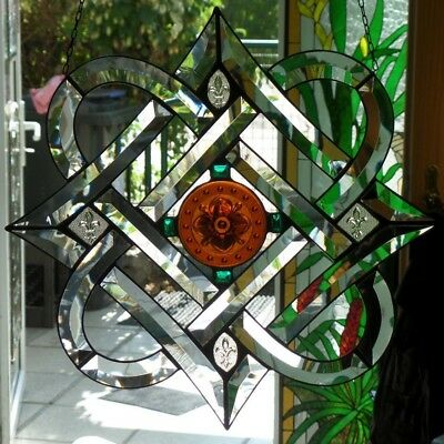 Leaded Glass Faceted Window Image Celtic Motif / Wisteria) in Tiffany