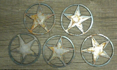 Lot of 5 Texas Stars SOLID 3 in Rough Rusty Vintage Metal Art Ornament Stencil