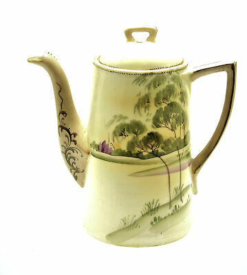 NIPPON House & Tree Hand Painted Green Porcelain Chocolate Pot 1920's