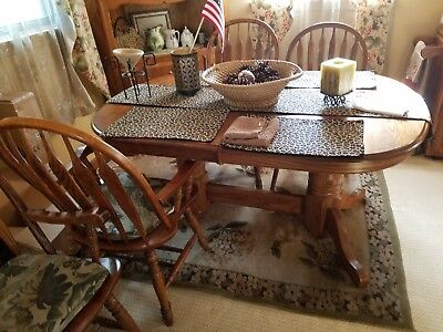 5 Piece Dining Table Set Oval with Extension Leaf & Corner China Hutch
