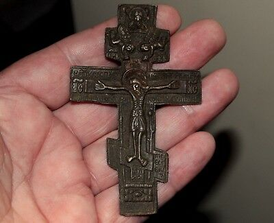 Large Old Middle Ages Russian Bronze Cross Crucifix From Excavation In Latvia