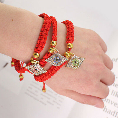Lucky Hamsa Evil Protect Kabbalah Red String Bracelets Crystal Evil Eyes Jewelry