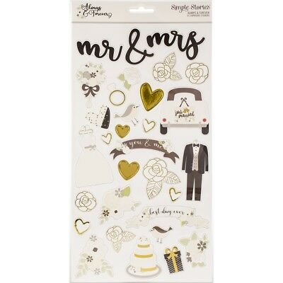Simple Stories Always & Forever 6x12 Chipboard - Wedding Stickers Gold Foiling