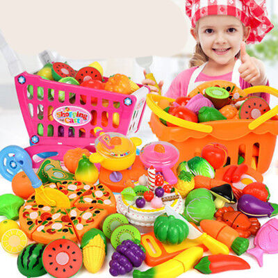 Lot Kids Pretend Role Play Kitchen Fruit Vegetable Food Toy Cutting Set Child D2