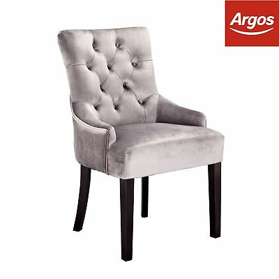 Argos Home Pair of Button Detail Dining Chairs - Charcoal