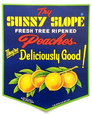 Sunny Slope Fresh Tree Ripened Peaches 1960's Vintage Ad Poster Gaffney, S.C. #1