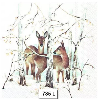 (735) TWO Individual Paper Luncheon Decoupage Napkins - WINTER, DEER SNOW FOREST