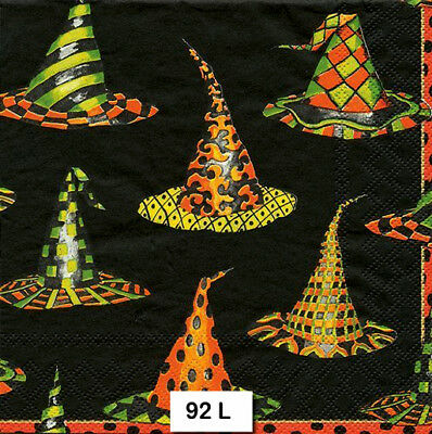 (92) TWO Individual Paper Luncheon Decoupage Napkins - HALLOWEEN, WITCH, HATS