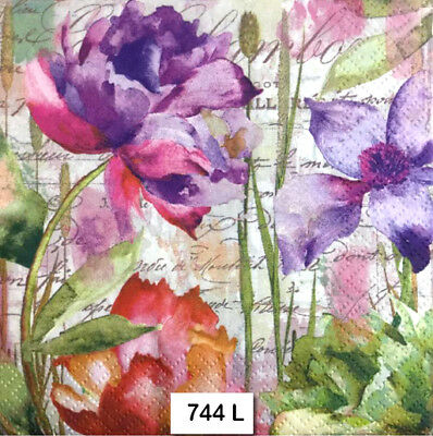(744) TWO Individual Paper Luncheon Decoupage Napkins - FLOWERS WATERCOLOR