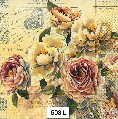 (503) TWO Individual Paper Luncheon Decoupage Napkins - FLOWERS VINTAGE ROSES