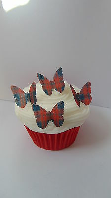 48 precut butterfly Red Tartan edible paper toppers cake decorations