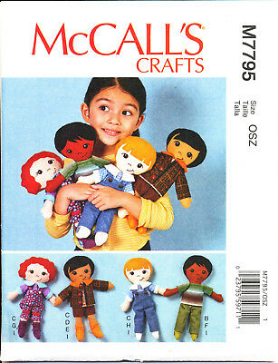 Mccall's Sewing Pattern 7795 Rag/Cloth Doll W/ Hairstyle Options Clothes & Shoes