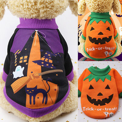 AU Halloween Pet Dog Cat Puppy Pumpkin Witch Costume Sweatshirt Outfits Apparel