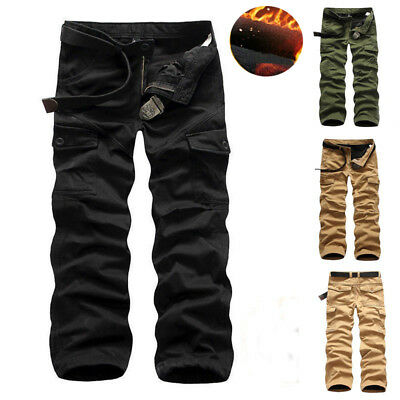 Herren Winter Fleece Hose Warm Gefüttert Pants Thermohose Cargo Fleecefutte