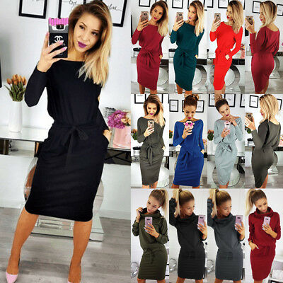 UK Womens Long Sleeve Bodycon Ladies Office Work Belt Party Midi Dress Plus Size