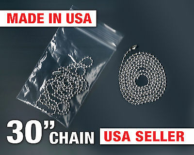 "Genuine Ball Chain 30"" Bead 1 Necklace for Dog Tag USA Military USMC Army Navy"