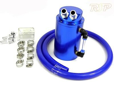 Blue Alloy Oil Catch Tank/Can & Blue Hose Impreza WRX STi Turbo