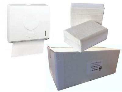 Z Fold Compact ABS Hand Paper Towel Dispenser & FULL CASE OF PAPER
