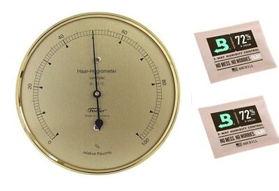 Fischer Haar-Hygrometer synthetic messingfarben Made in Germany und 2 Stk Calib