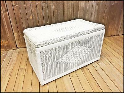Vintage WICKER STORAGE CHEST white coffee table shabby cottage trunk french BOHO