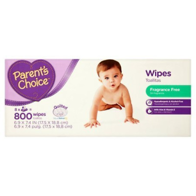 Parent's Choice Fragrance Free Baby Wipes | Contains Aloe and Vitamin E 800