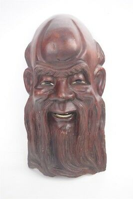Antique Chinese Mythology Shou-xing Root Wood Carving Wall Hanging Art Feng Shui