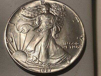 1987-P U.s. American Eagle Uncirculated One Ounce .999 Silver One Dollar Coin