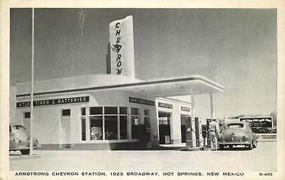 Roadside Postcard Armstrong Chevron Gas Station, Hot Springs, New Mexico 1940s