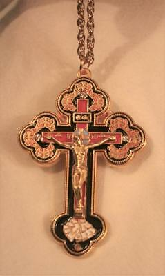 Gorgeous Orthodox Black & Red Enameled Crucifix Cross Pectoral Goldtone Necklace