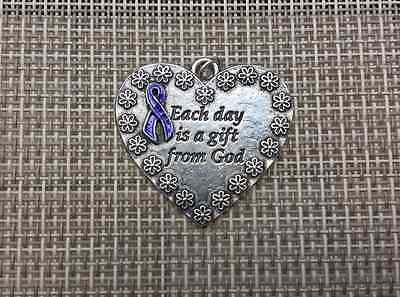 For Your Love Ones 1 PURPLE RIBBON AWARENESS HEART PENDANT For Various Causes