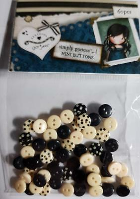Gorjuss PK 60 Mini Black & Cream Buttons Perfect for Scrapbook and Card Making