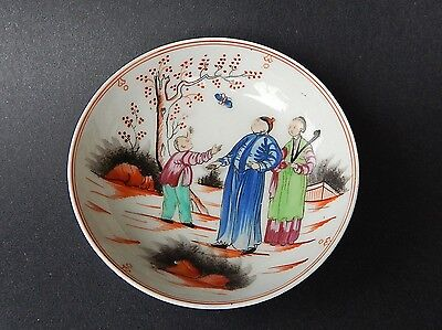 Antique English New Hall Porcelain Saucer Boy With Butterfly Pattern circa 1800