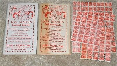 2 Vintage Jos. Joseph Mason Department Store Red Stamp Book Glen Ellyn Illinois