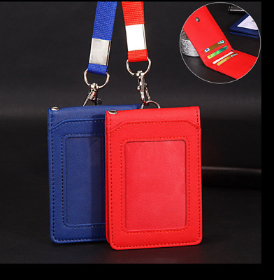 2in1 Lanyard ID Holder Wallet Badge Neck Strap Leather Pass Credit Card Business