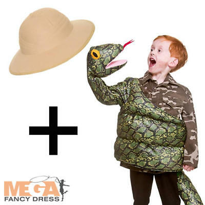 Green Snake + Safari Hat Kids Fancy Dress Childs Boys Girls Halloween Costume