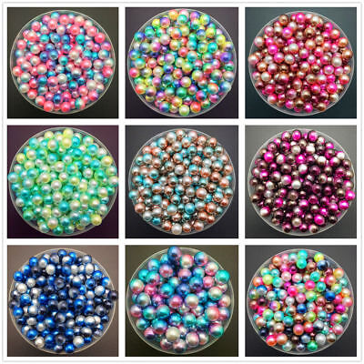 DIY 4mm 6mm 8mm Colour Acrylic Round Pearl Spacer Loose Beads Jewelry Making