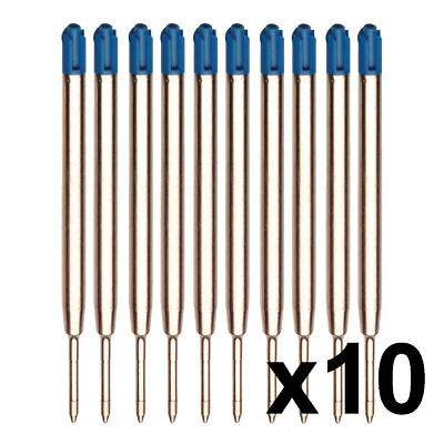 10 x Blue Refills Compatible With Parker Pen Ink Ballpoint 0.7mm Med-  Biro