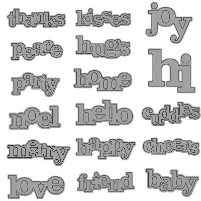 17 Mixed Words Metal Cutting Dies DIY Embossing Scrapbook Ablum Paper Card Decor